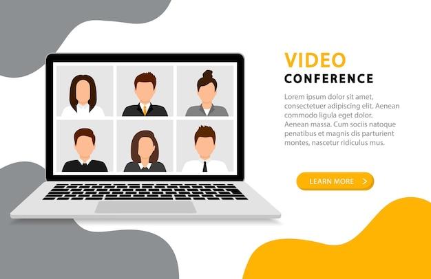 Pagina di destinazione della videoconferenza. riunione in linea. videochiamata con persone sullo schermo del computer. videoconferenza sullo schermo del computer. quarantena, istruzione a distanza, lavoro da casa.