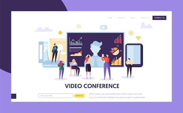 Modello di pagina di destinazione della videoconferenza. webinar di comunicazione di personaggi di persone d'affari, formazione online per sito web o pagina web.