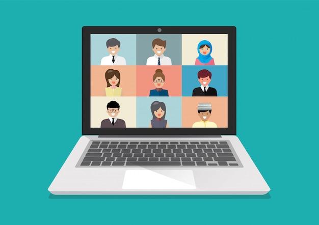 Videoconferenza su laptop