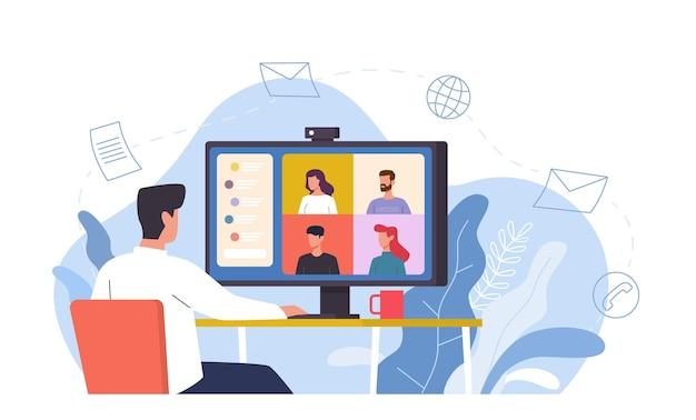 Video conferenza. l'uomo alla scrivania fornisce riunioni virtuali collettive utilizzando computer, chat online lavoro remoto con schermo video, discussione con amici o concetto di vettore di comunicazione internet e-learning