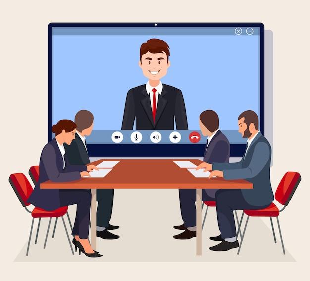 Riunione in videoconferenza con l'amministratore delegato, capo in sala riunioni. consulenza, formazione, concetto di presentazione