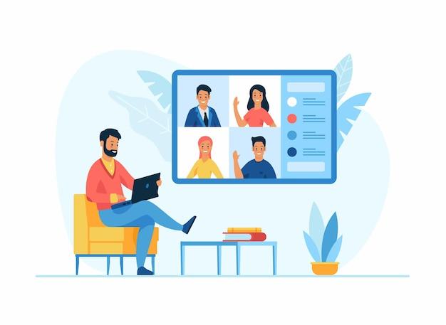 Concetto online di videoconferenza. personaggio dei cartoni animati maschio si siede su una sedia davanti a un computer portatile