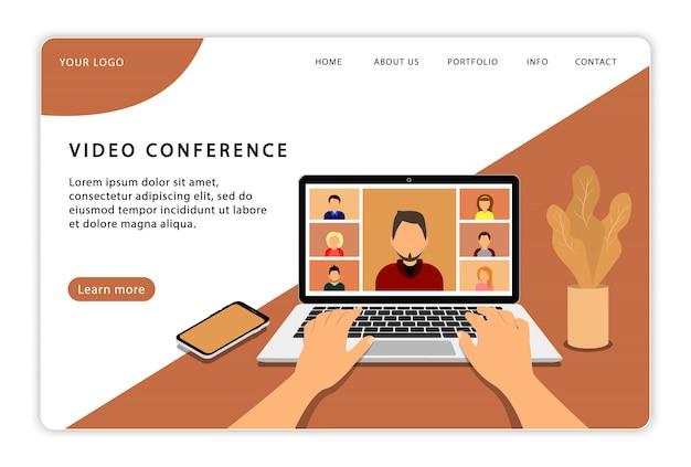 Video conferenza. incontro online. videochiamata di gruppo. pagina di destinazione. pagine web moderne per siti web.