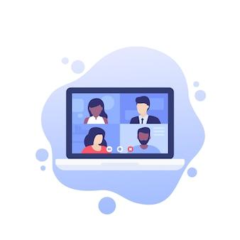 Videoconferenza, riunione online, videochiamata di gruppo