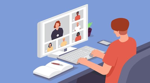 Area di lavoro per videoconferenze o riunioni online.