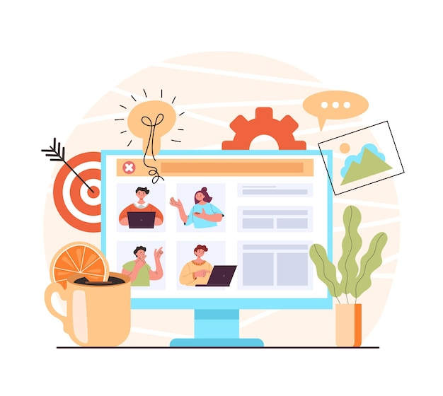 Videoconferenza lavoro di squadra online chat internet web comunicazione educazione concetto