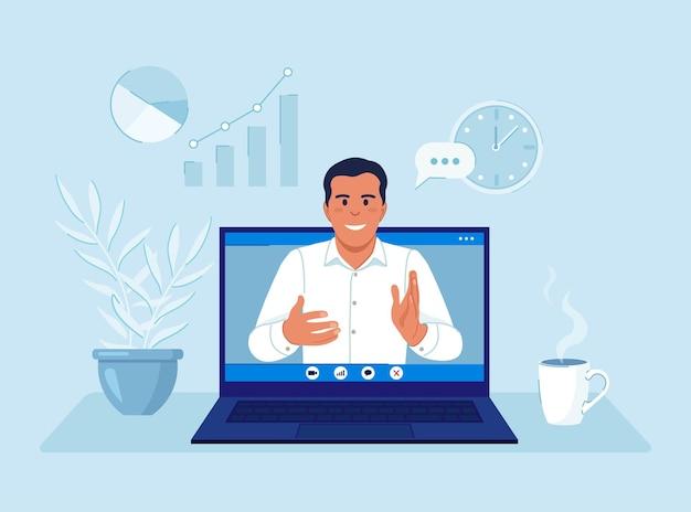 Video conferenza. webinar di formazione online, lezione. uomo sullo schermo del computer che prende con un collega. seminario web, incontro interattivo