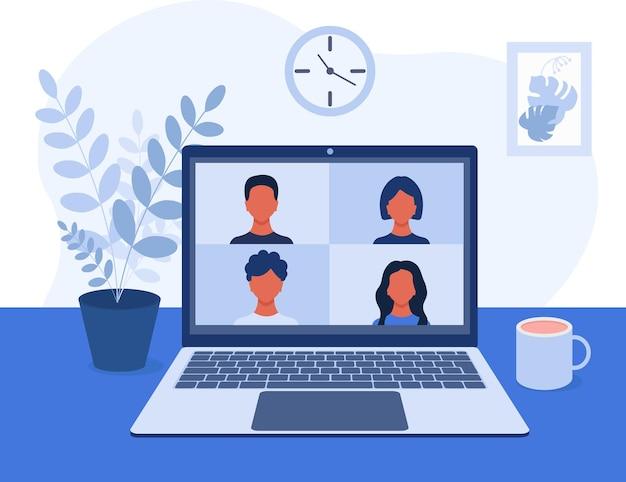 Videoconferenza videocomunicazione online con colleghi amici studenti a casa o in ufficio