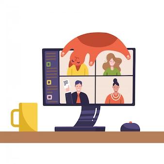 Video conferenza. immagine di persone sullo schermo del computer. scrivania con gatto sdraiato sul monitor, mouse pc, tazza. conferenza web. webinar online. streaming live con i colleghi. comunicazione a distanza. design piatto