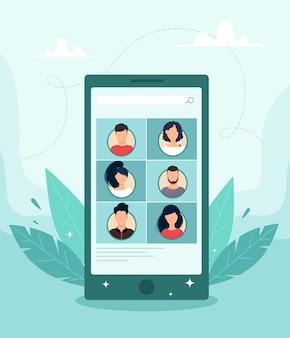 Concetto di videoconferenza tramite applicazione mobile. illustrazione in stile piatto.