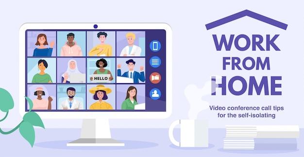 Videoconferenza a casa, conferenza online con colleghi attraverso un computer. illustrazione