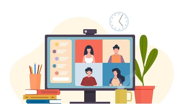 Videoconferenze. riunione virtuale, computer desktop con il lavoro di squadra dell'ufficio del gruppo di colleghi, chat di e-learning o incontri di amici, software per il concetto di fumetto piatto vettoriale di comunicazione online lavoro remoto