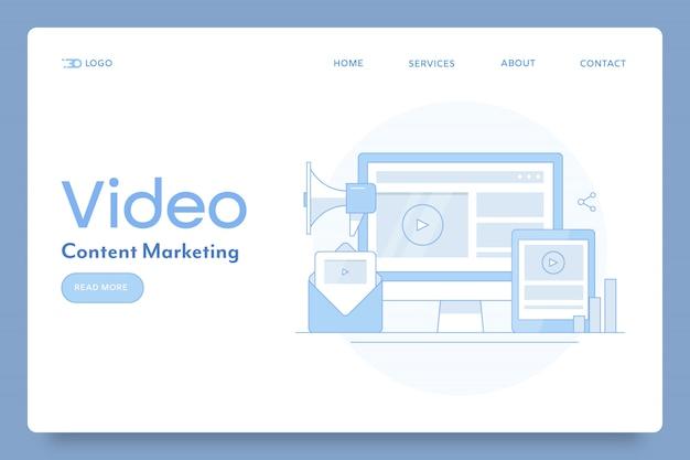 Contenuti video per banner concettuale di marketing digitale