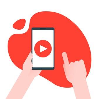 Concetto di marketing di contenuti video. l'uomo d'affari tiene lo smartphone con il pulsante di riproduzione per raggiungere affari, apprendimento e formazione online, videoconferenza e webinar, pubblicare informazioni online in video.
