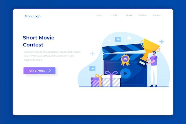Concetto di pagina di destinazione dell'illustrazione del concorso video