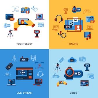 Raccolta di icone di tecnologia di streaming online on demand