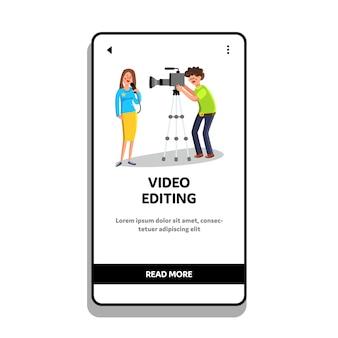 Video editing cameraman shoots reporter