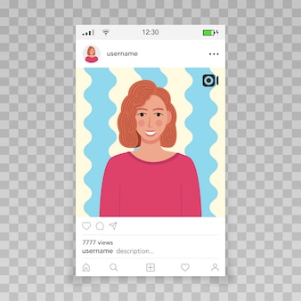 Fotogramma video di instagram template icona femminile