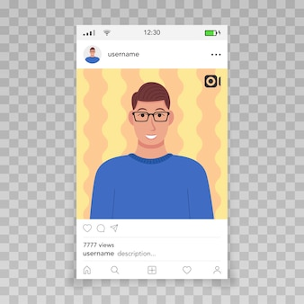 Fotogramma video di instagram template icona maschile