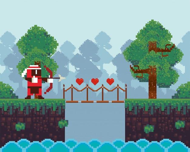 Guerriero di tiro con l'arco del videogioco in scena pixelata