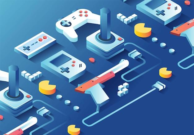 Gamepad per console per videogiochi dal joystick al gioco arcade con pistola a mano anni '80
