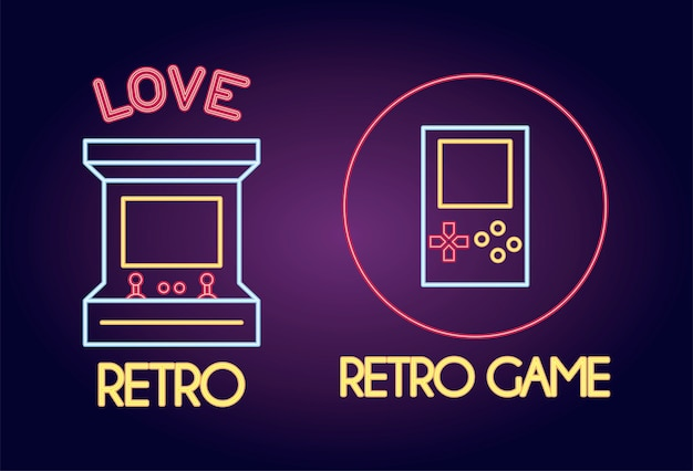 Console per videogiochi neon style icona illustrazione