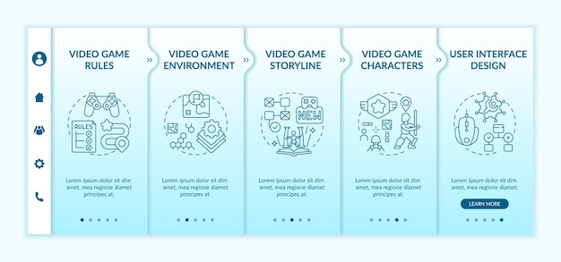 Modello di onboarding dei componenti di progettazione di videogiochi. creazione di regole per videogiochi per migliorare la storia. sito web mobile reattivo con icone. schermate di passaggio della procedura guidata della pagina web.