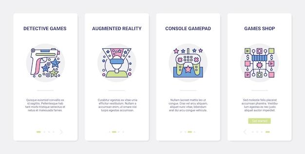 Dispositivi per videogiochi e gadget per l'interfaccia di gioco ux onboarding set di schermate della pagina dell'app mobile mobile