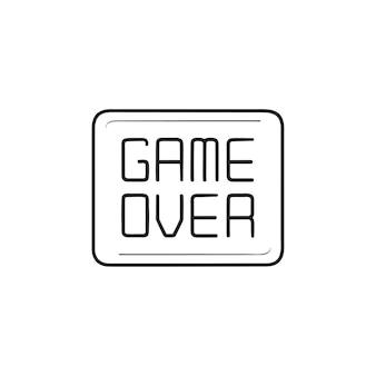 Gioco del segno del video gioco sull'icona di doodle di contorni disegnati a mano. fine del gioco, finisci di giocare al videogioco, perdi il concetto
