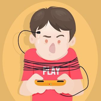 Personaggio del concetto di dipendenza da videogiochi con controller