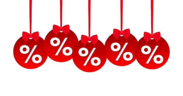 Video cartellini vendita rosso percentuale. illustrazione vettoriale.