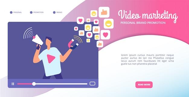 Concetto di marketing video. pubblicità online, streaming vlog e grafica animata. banner web social media mercato vettoriale