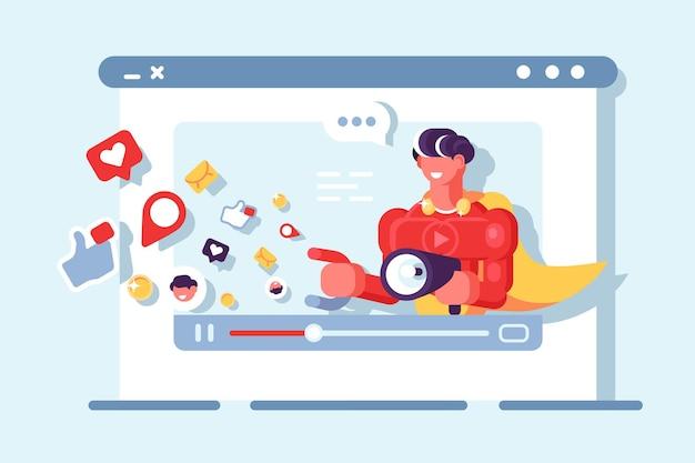 Illustrazione di comunicazione della rete sociale di video marketing