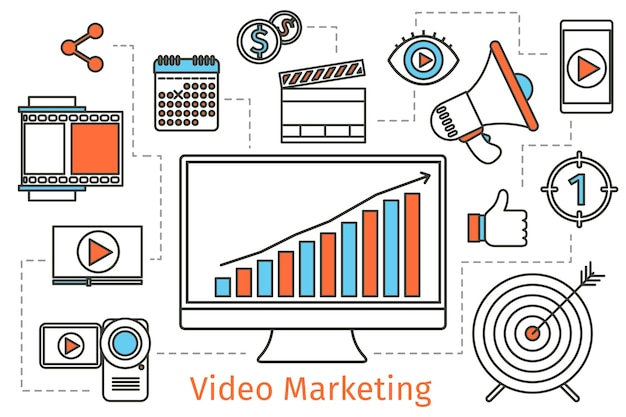 Strategia di marketing video. fondo di concetto di media sociali di vettore. pubblicità video multimediale, pubblicità di comunicazione, informazioni sui social media e concetto di strategia multimediale