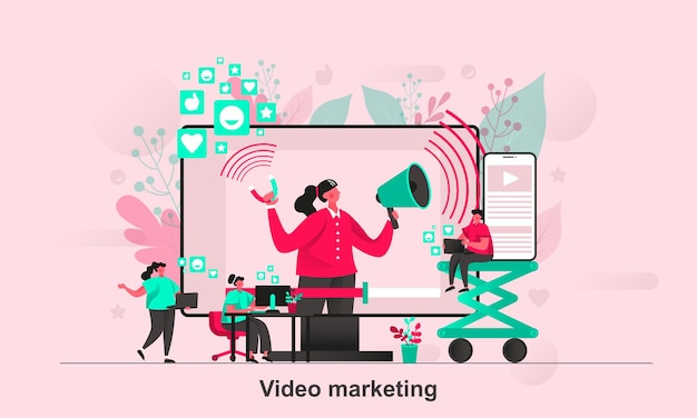 Video marketing web concept design in stile piatto con personaggi minuscoli