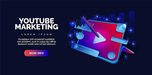 Webinar pubblicitario di video marketing su youtube. premium.