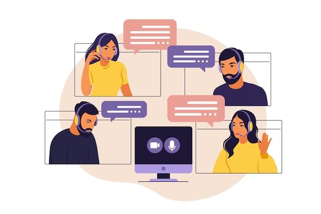 Video riunione del gruppo di persone. riunione online tramite videoconferenza. lavoro a distanza, concetto di tecnologia. illustrazione in stile piatto.