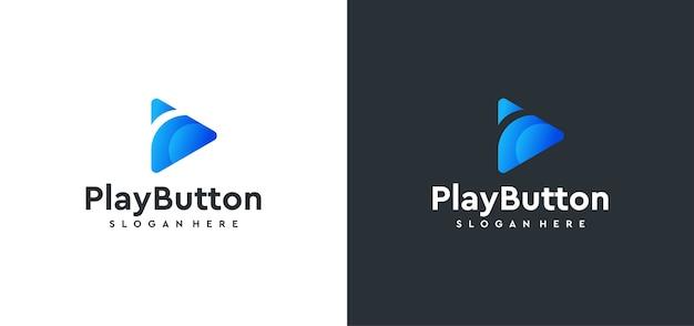 Concetto di design del logo del pulsante di riproduzione video