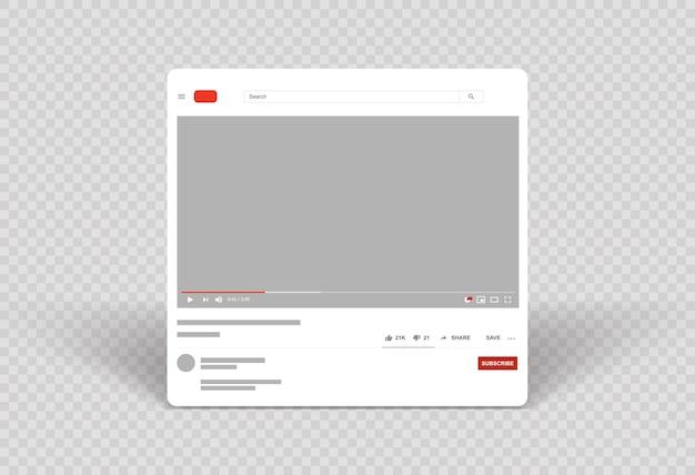 Layout del lettore video fotogramma video modello mobile