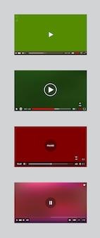 Finestra del lettore video con il set di vettori del pannello dei pulsanti e dei menu. collezione di interfacce utente.