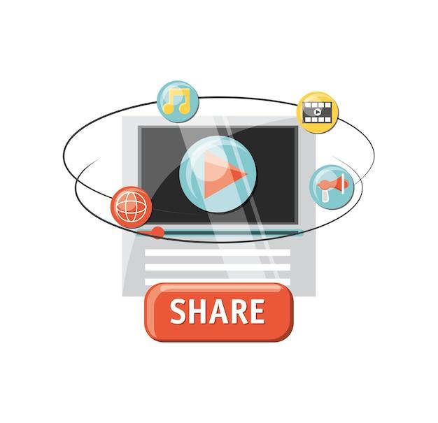 Lettore video con icone relative al contenuto virale