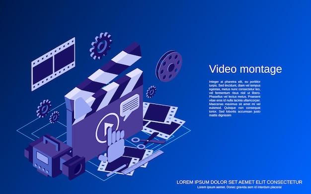 Produzione video, editing, montaggio illustrazione di concetto di vettore isometrico 3d piatto
