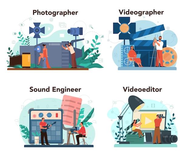 Produzione video, fotografia e set di concetti di ingegneria del suono. industria dei contenuti multimediali. realizzazione di contenuti visivi per i social media con attrezzature speciali. illustrazione vettoriale isolato