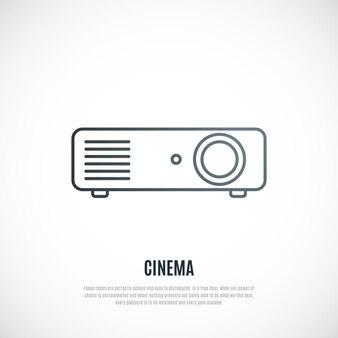 Icona della linea del videoproiettore isolata su sfondo bianco