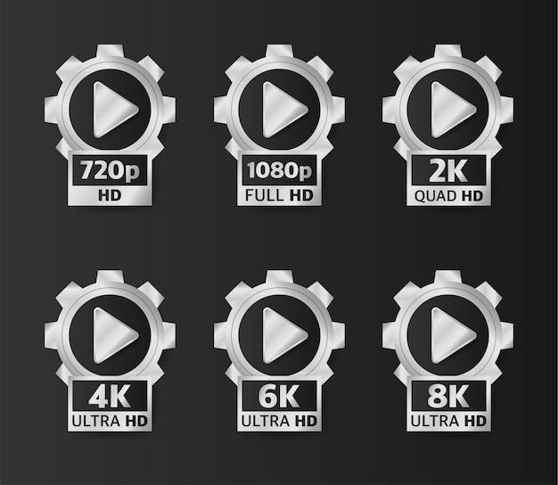 Distintivi di qualità video in colore argento su sfondo nero. hd, full hd, 2k, 4k, 6k e 8k.