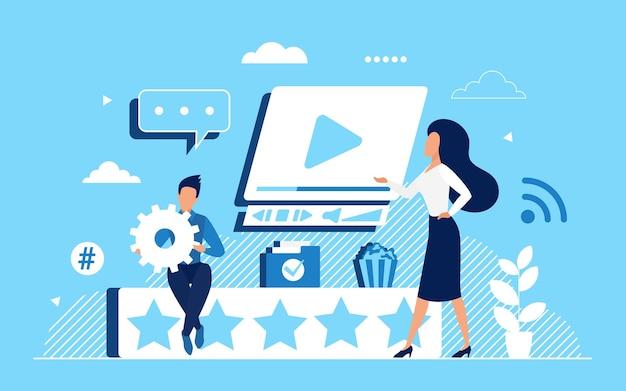 Concetto di feedback della velocità video con piccoli personaggi dei clienti