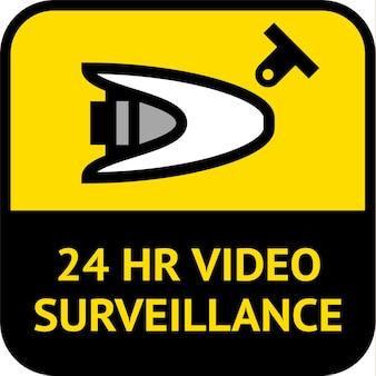 Videosorveglianza, etichetta cctv di forma quadrata, illustrazione vettoriale