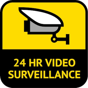 Videosorveglianza, etichetta cctv di forma quadrata