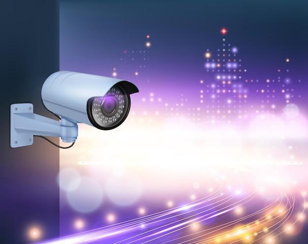 Composizione realistica di telecamere di sicurezza per videosorveglianza con immagine di telecamera a parete con luci notturne della città
