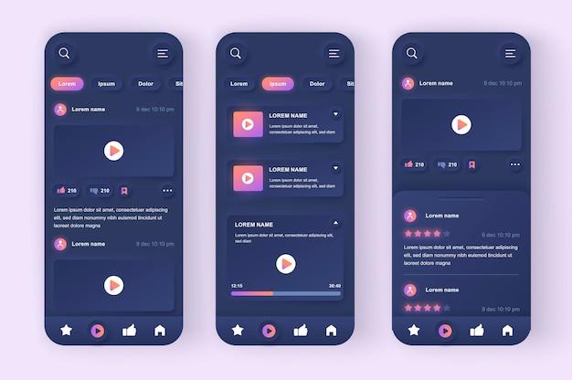 App mobile ui dal design neumorfico moderno di video tube